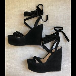Gianvito Rossi Sandals Black Lace Up Wedge Heel 6